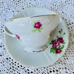 Lovely China Teacup and Saucer Set Pink Roses